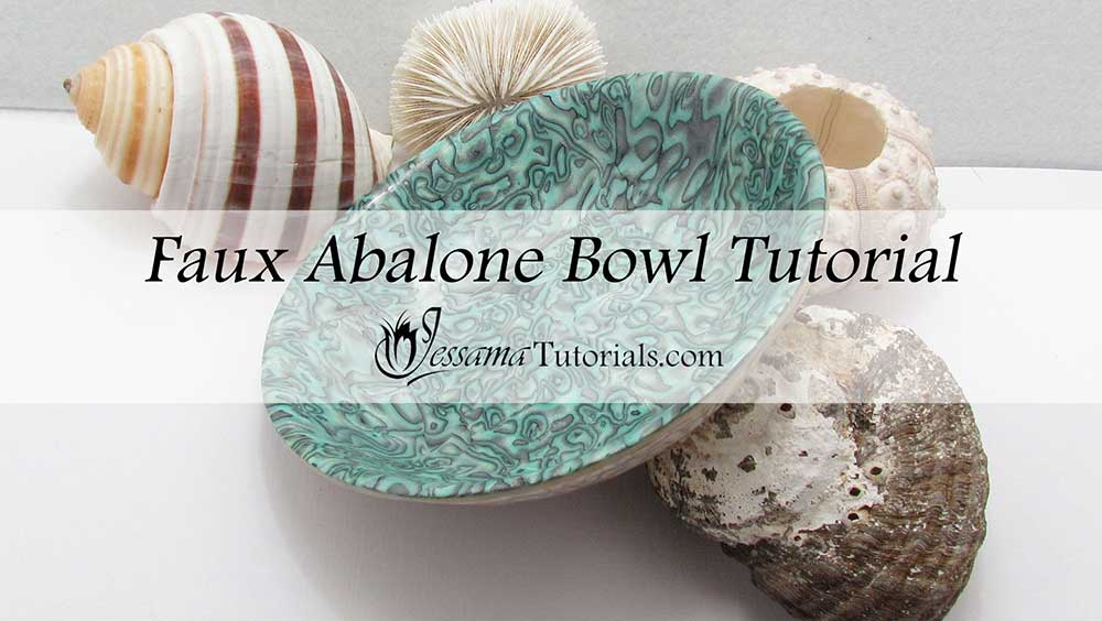 Polymer clay faux abalone bowl