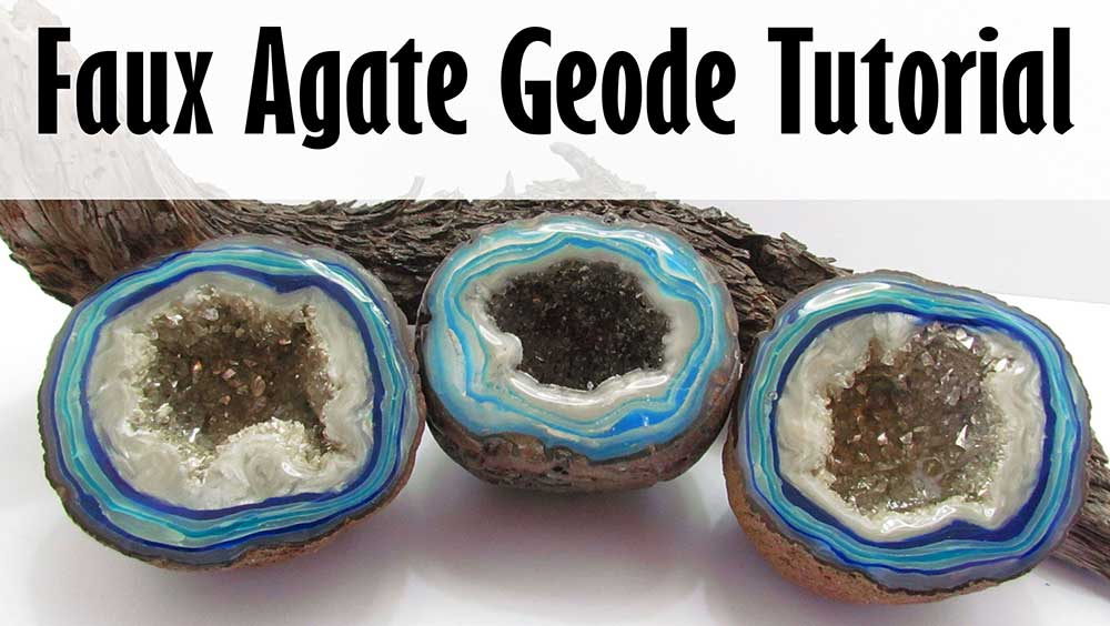 Polymer clay faux agate geode