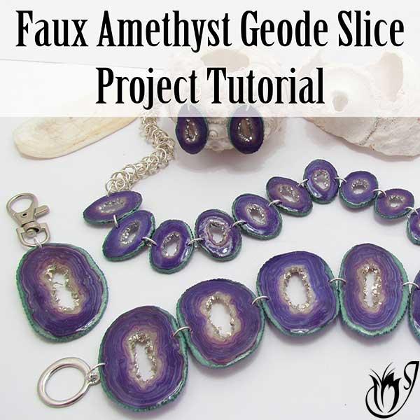 Polymer clay faux amethyst geode slice