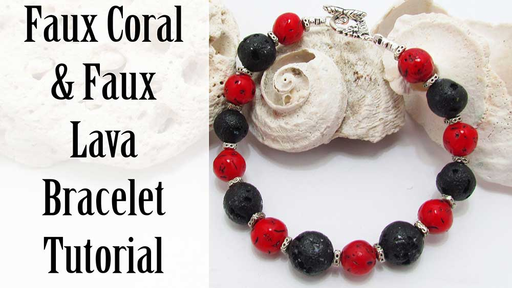 Faux Coral and Faux Lava Bead Bracelet