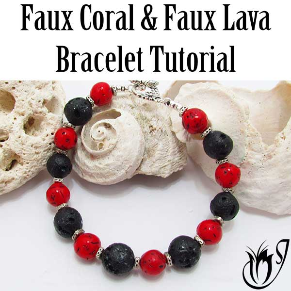 Polymer Clay Faux Lava and Coral Bracelet