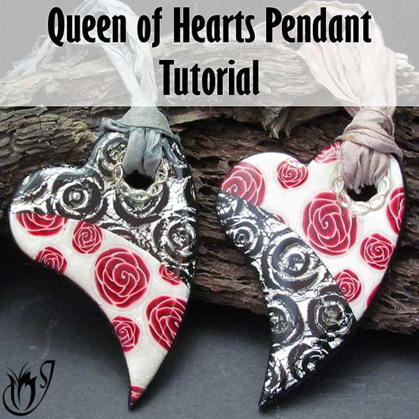 Queen of Hearts Polymer Clay Pendants