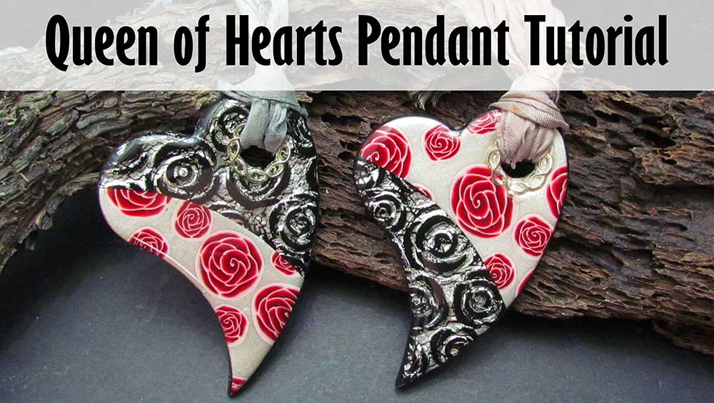 Queen of Hearts Polymer clay Pendant