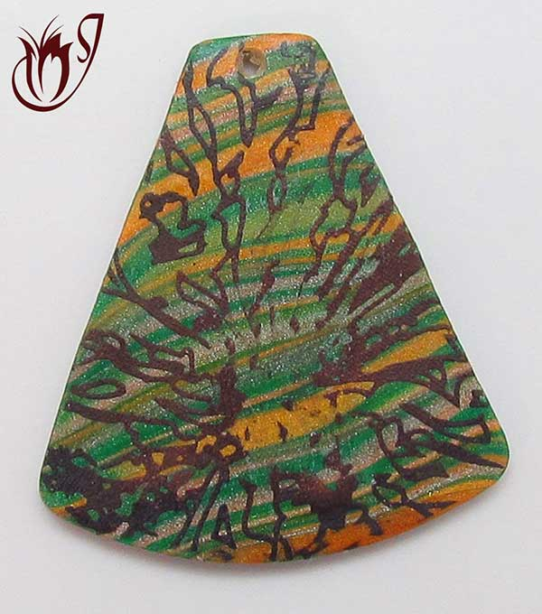polymer clay bead with scratched surface effect