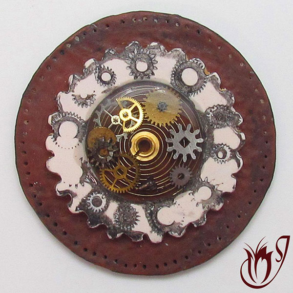 Faux leather and bone polymer clay bead