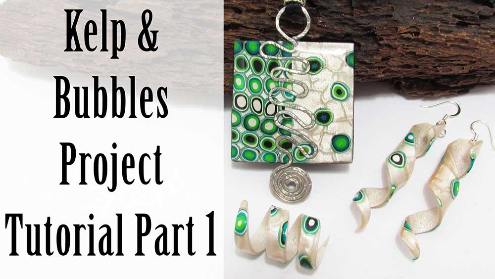 Kelp and Bubbles Polymer clay earrings