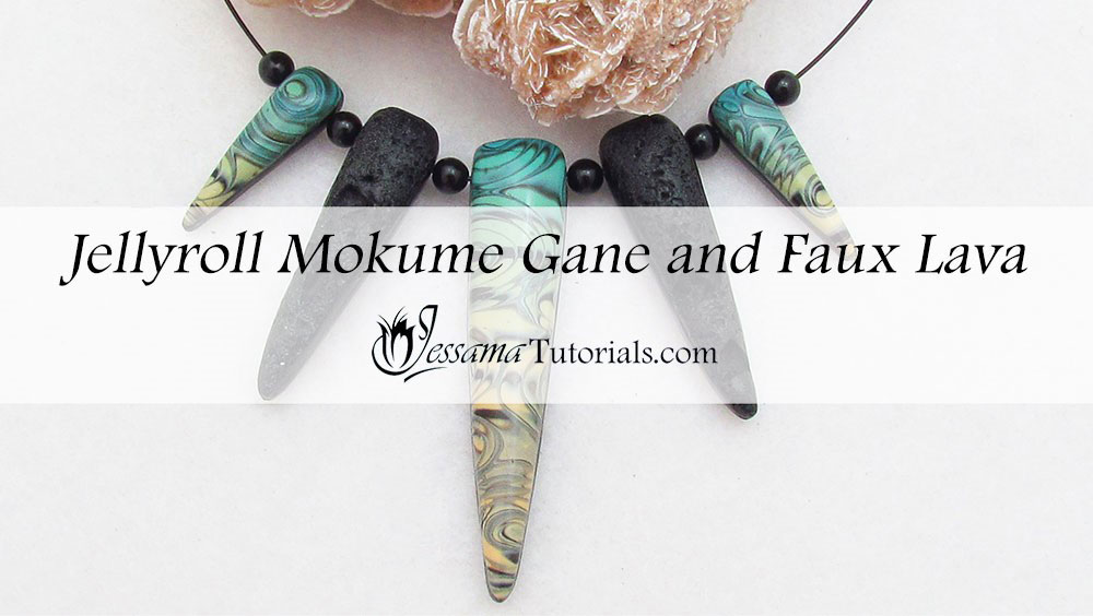 polymer clay jellyroll mokume gane and faux lava necklace