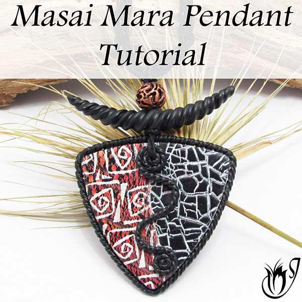 Masai Mara Polymer clay pendant