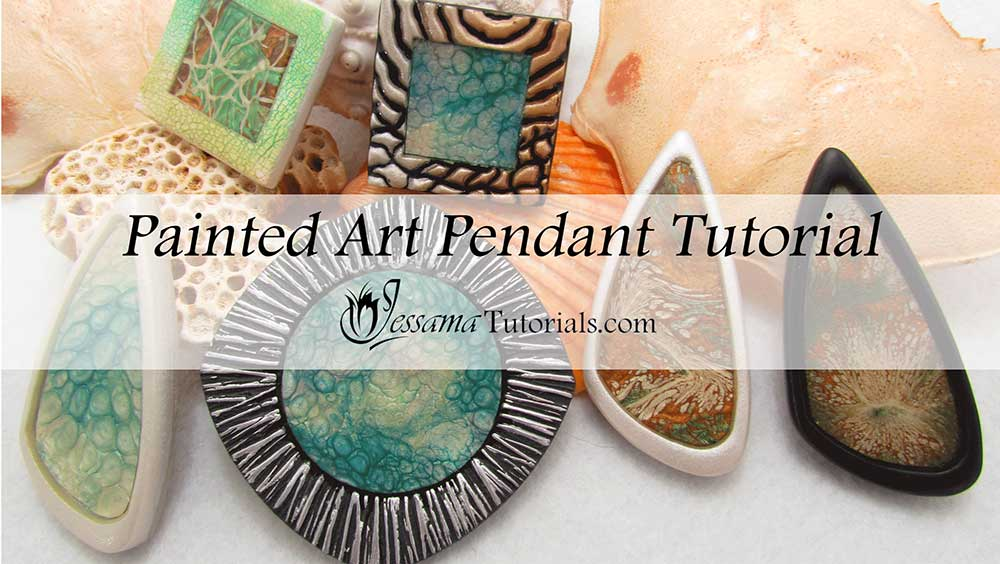 Painted art polymer clay pendant tutorial aloadofball Images
