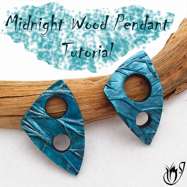 Blue Midnight Wood Polymer Clay Pendants