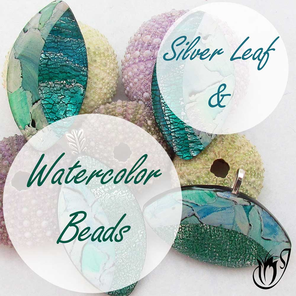 Silver Leaf and Watercolor polymer clay beads