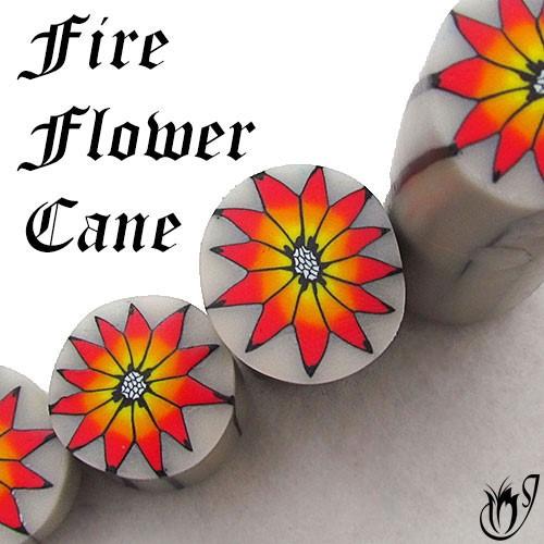 Polymer clay fire flower cane