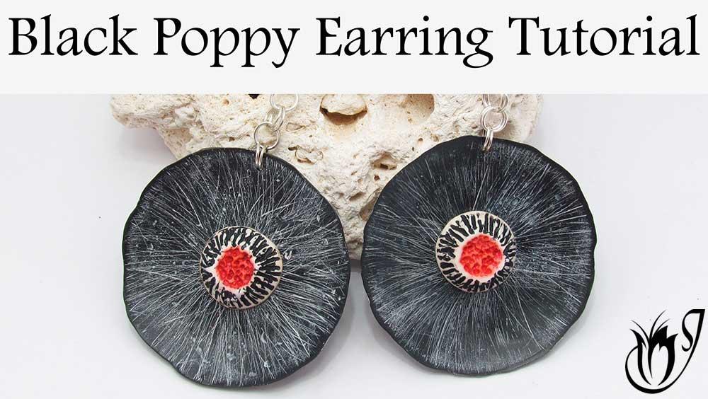 Black Poppy Polymer Clay Earring Design