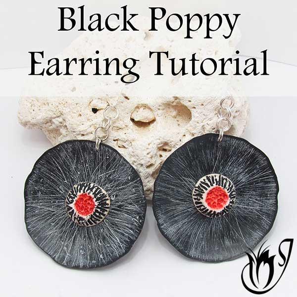 Black Poppy Polymer Clay Earrings