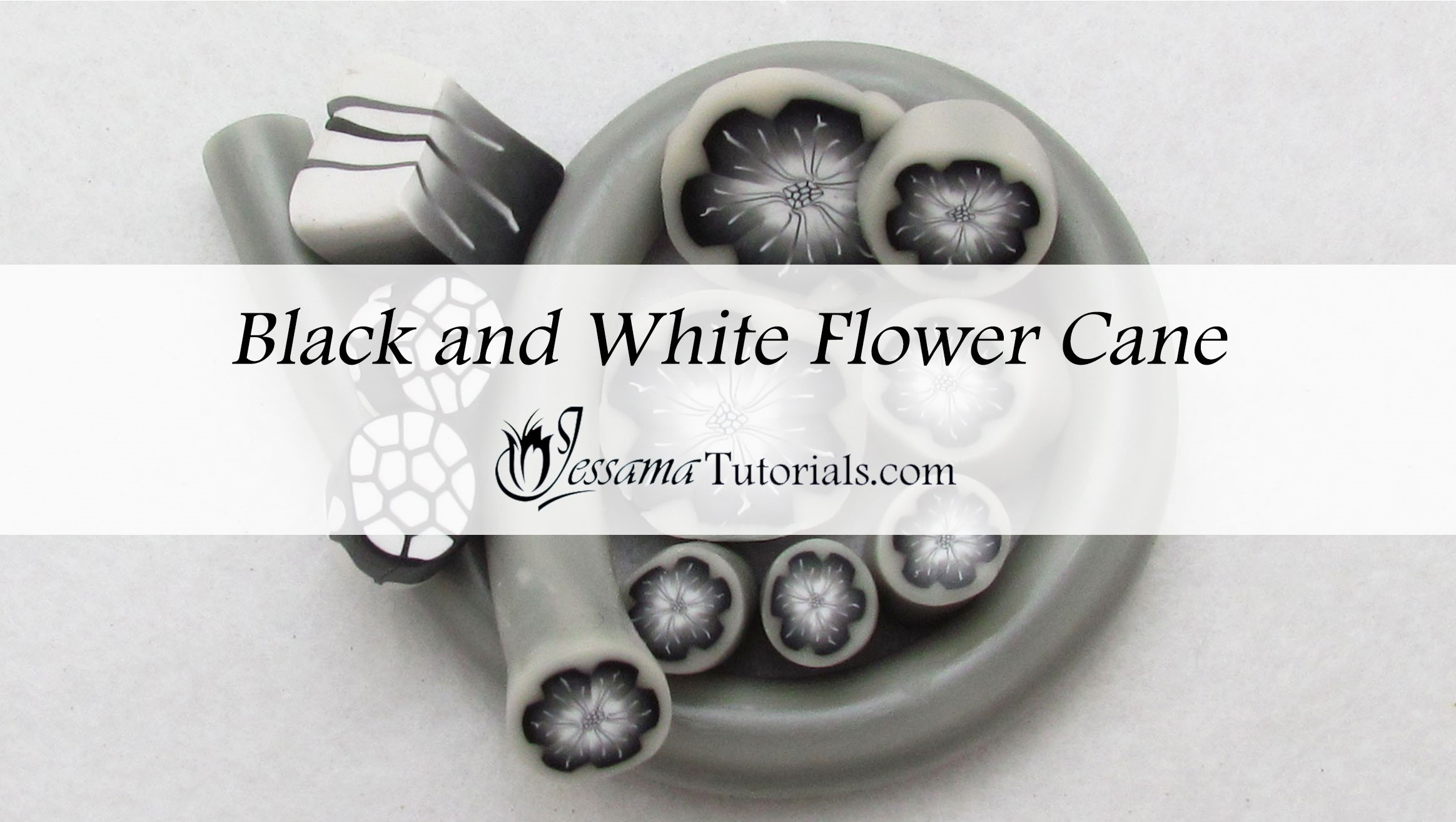 Black and white polymer clay flower canes