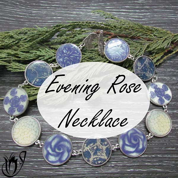 Polymer clay evening rose necklace