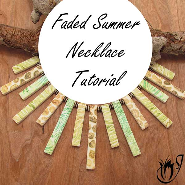 Faded Summer polymer clay fan necklace