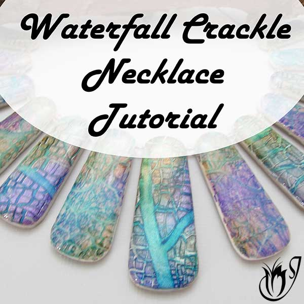 Polymer clay waterfall crackle necklace