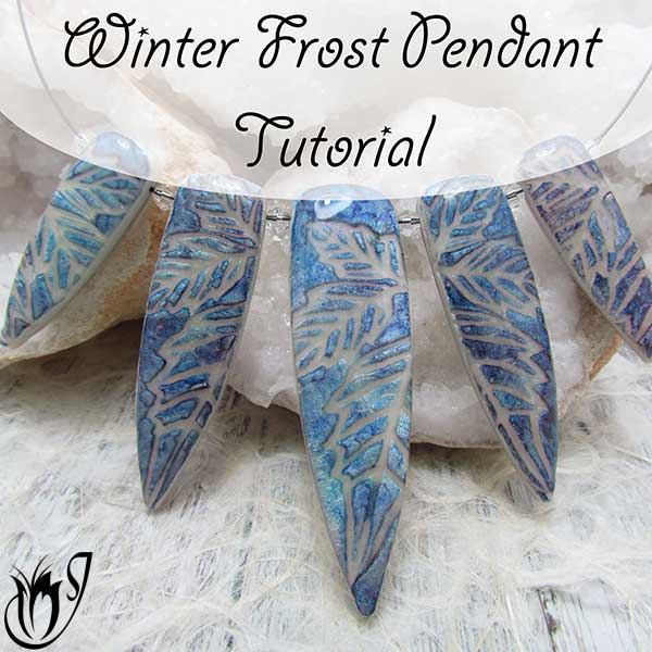 Winter Frost Polymer Clay Pendants