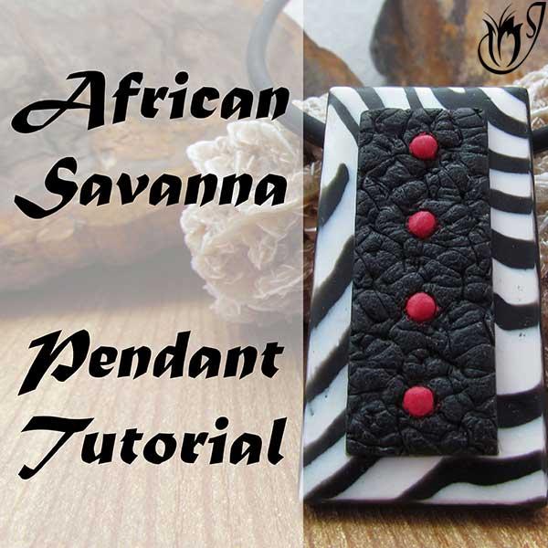 Polymer clay African savanna pendant