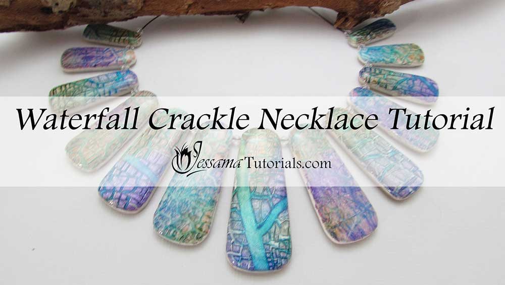 waterfall crackle polymer clay necklace