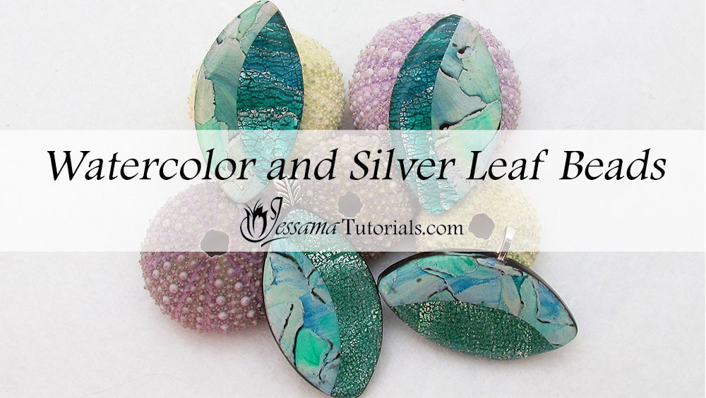 Watercolor and silver leaf polymer clay pendant tutorial watercolor and silver leaf polymer clay pendant aloadofball Images