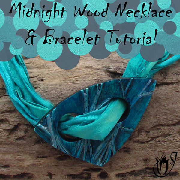 Midnight Wood Polymer Clay Necklace And Bracelet