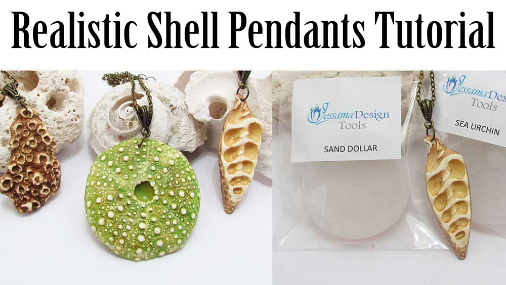 Polymer clay shell pendants