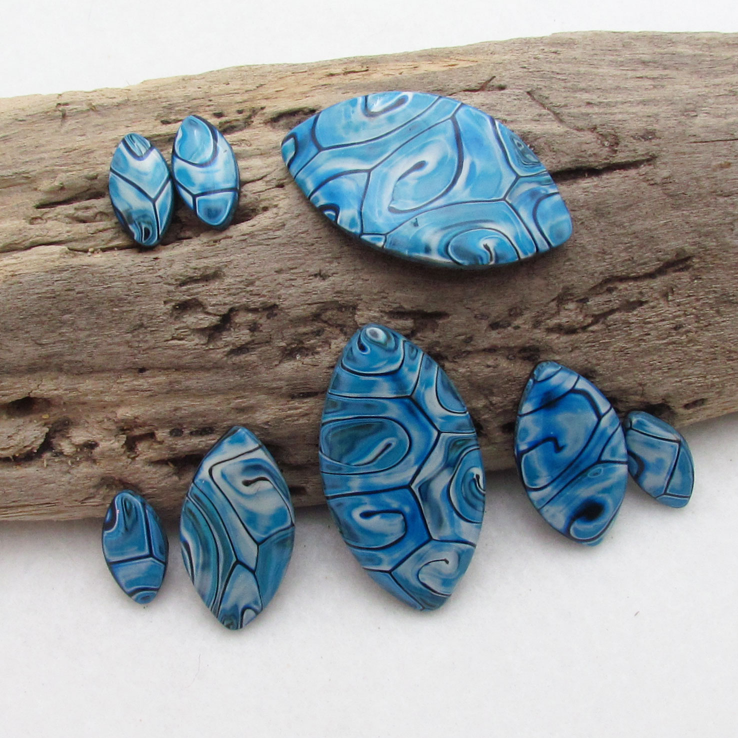 Starry night polymer clay pendants