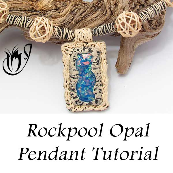 polymer clay faux opal pendant