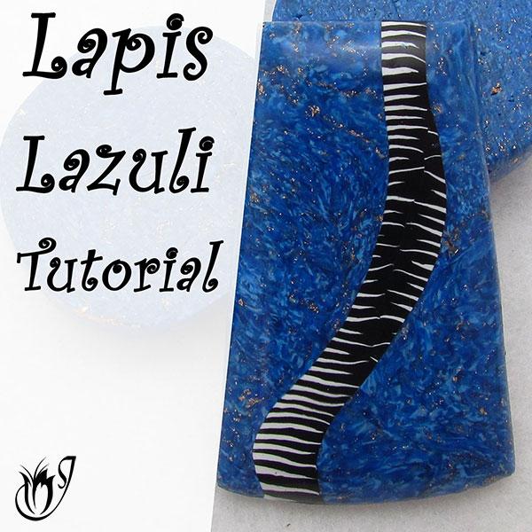 Polymer clay Faux Lapis Lazuli