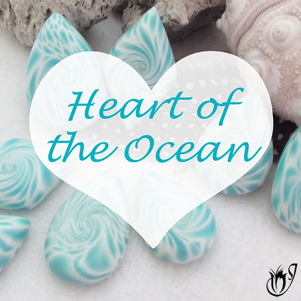 heart of the ocean polymer clay lentil beads