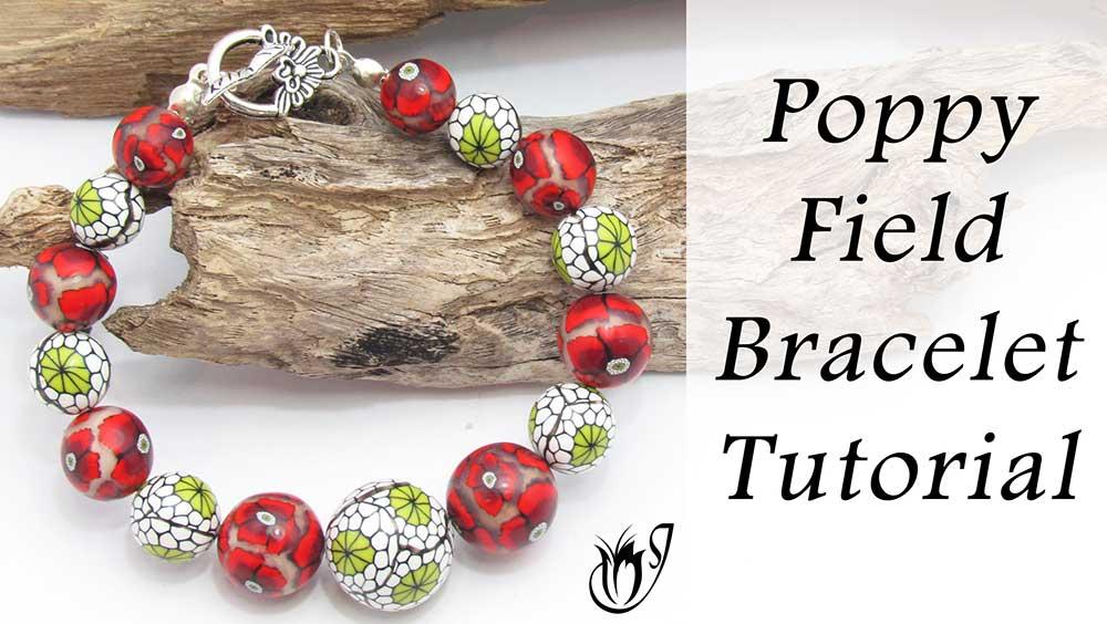 Poppy field polymer clay bracelet