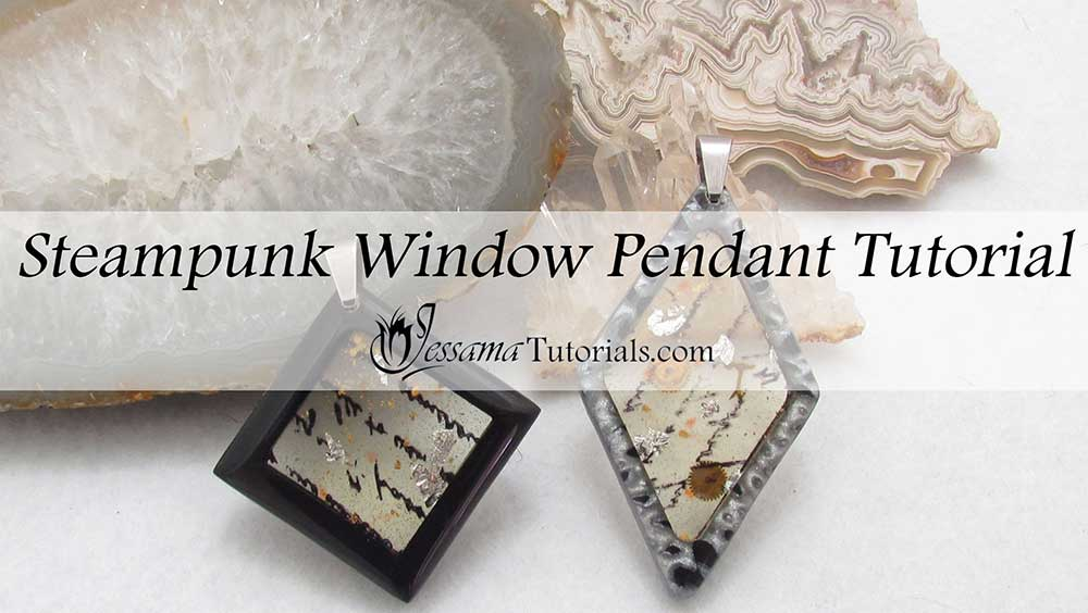 Steampunk Polymer Clay Window Pendants