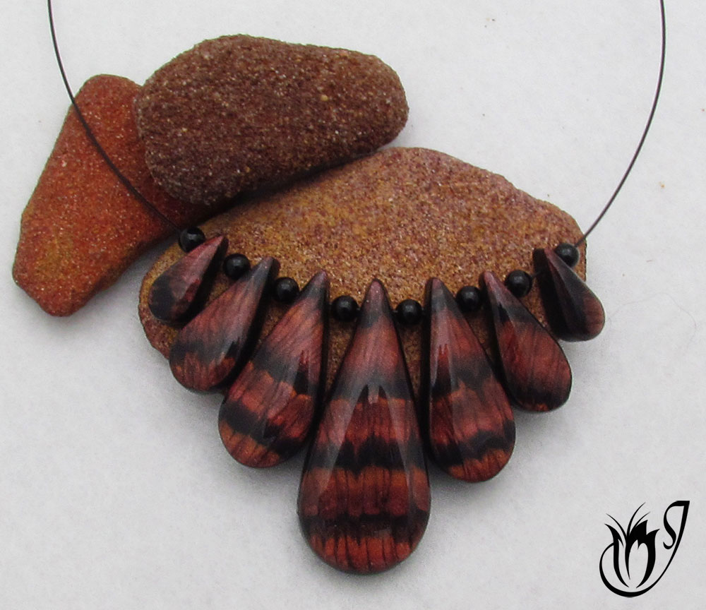 Faux red tiger eye polymer clay necklace