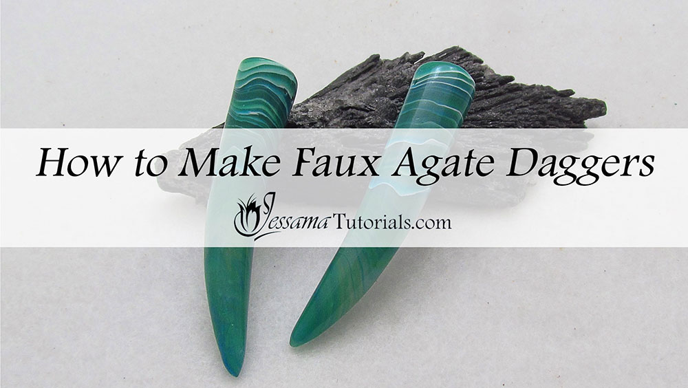 How to make Faux Agate Polymer Clay daggers