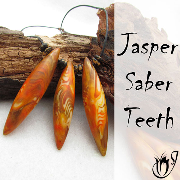 Faux Jasper Polymer Clay Saber Teeth