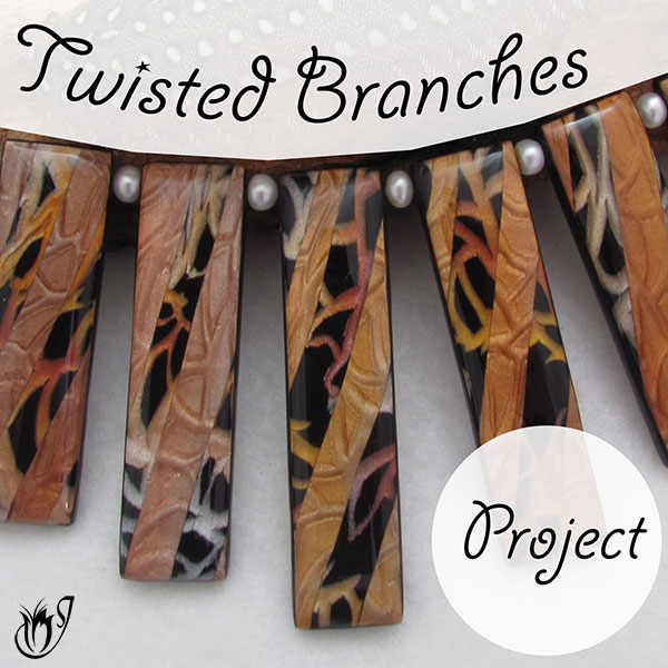 Polymer clay twisted branches necklace