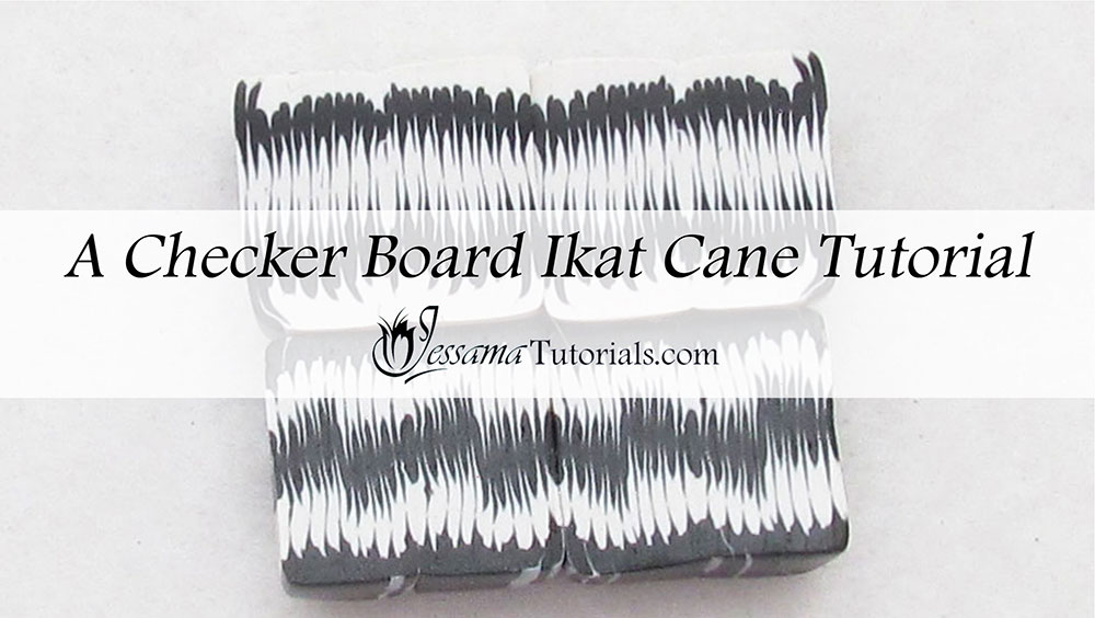 Checkerboard Ikat Cane Polymer Clay Tutorial