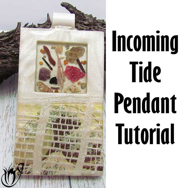 Incoming Tide Polymer Clay Image Transfer Pendant