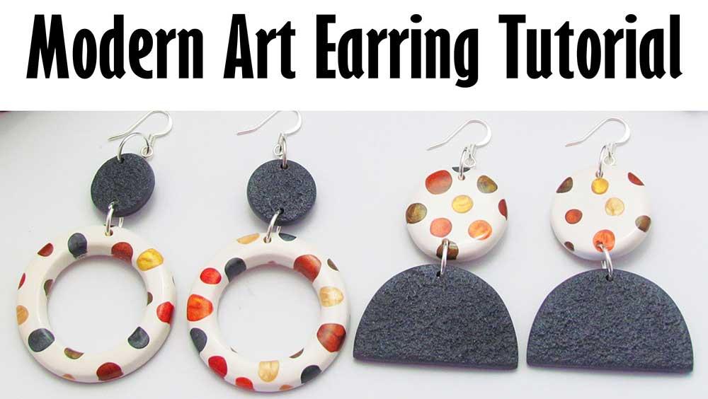 Polymer clay modern art earrings