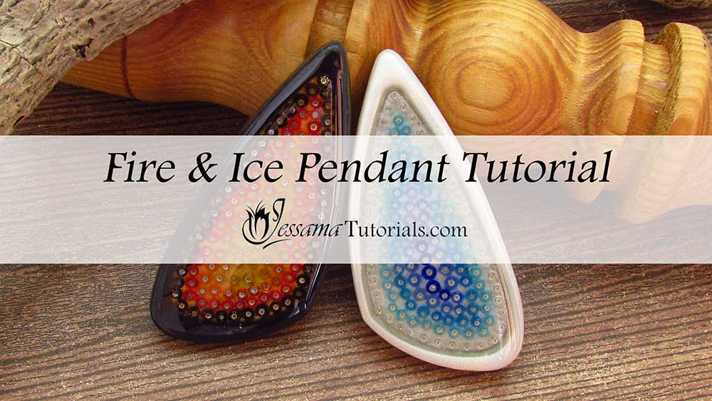 Fire and Ice Polymer clay bezels with seed beads