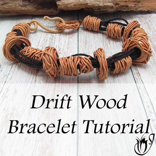 polymer clay driftwood bracelet