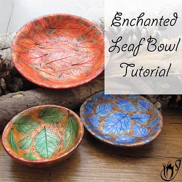 Polymer clay leaf bowls