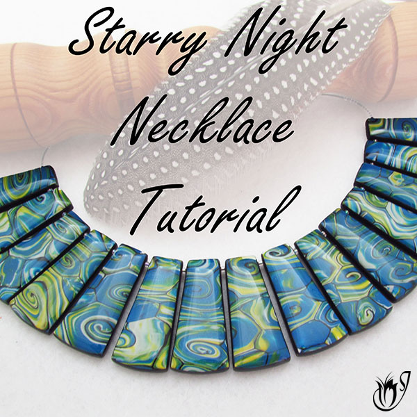 Starry Night Polymer Clay Necklace