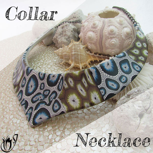 Polymer clay collar necklace