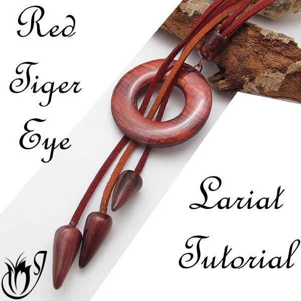 Red Tiger Eye Polymer Clay Lariat