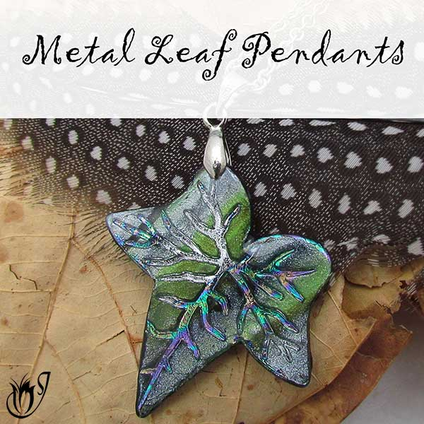 Polymer Clay Metal Leaf Pendants