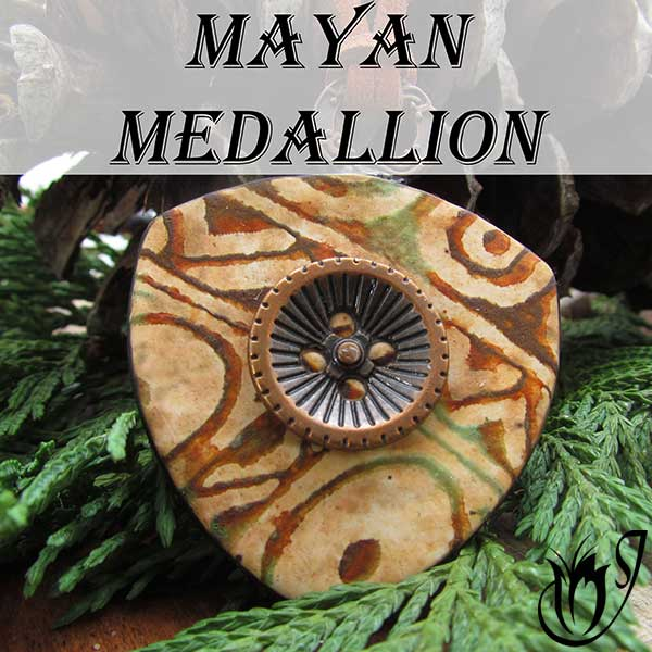 Polymer clay Mayan Medallion