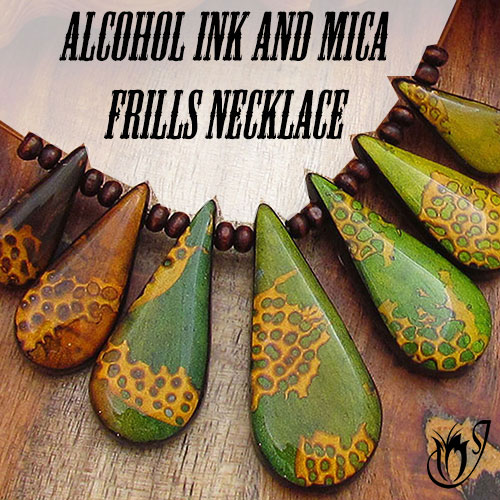 Alcohol ink and mica frills polymer clay necklace